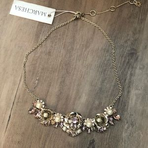 NWT Marchesa gold flowers/pearls/crystals necklace
